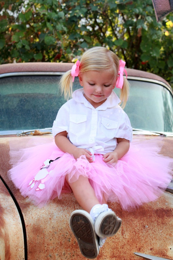 Pink Poodle Skirt Tutu by Atutudes | 50s | Sockhop | Rockabilly | Halloween Costume | Kids Girls Costume