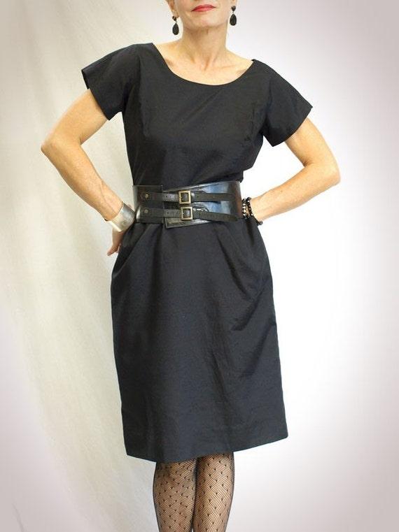 1950s Dress, Wiggle Dress, Cotton, Cocktail, Black, Medium, Marilyn Monroe
