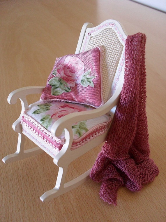 Dollhouse Miniature Shabby Chic Rocking Chair