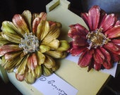 "Holiday sale 45% off with code Rich Shimmering Fall Flower Hair Clips ""Golden Dreams"" 2 pc."