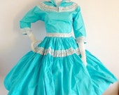 sale Turquoise Southwestern Patio Dress Vintage 1950s Rockabilly squaw Small XS