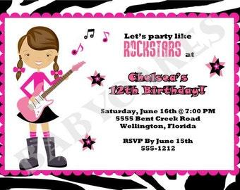 Rockstar Birthday Party Invitation Invite Girl Zebra Pink, DIY printable, Digital