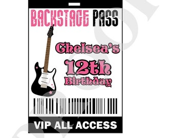 RockstarVIP Backstage Pass VIP -  DIY Print Your Own