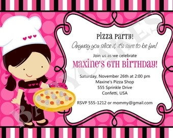 Pizza Birthday Party Invitation /Invite/ Pizza Party/ Girl/ Printable/ Digital/ DIY/ little chef/ choose your girl