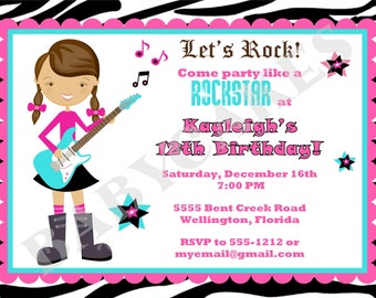 Rockstar Birthday Invitation Rockstar Invitation Rockstar Birthday Party Invitation Invite Zebra Print DIY Printable