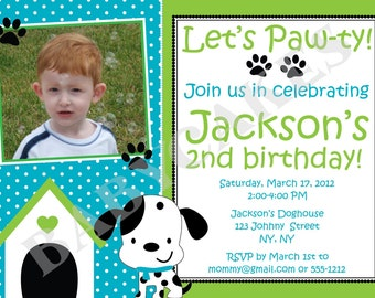 Puppy Party Birthday Invitation Dalmation - DIY Print Your Own - Matching Party Printables available