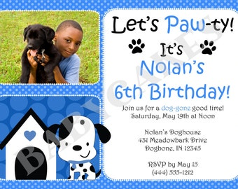 Puppy Party Birthday Invitation - dalmation puppy - puppy birthday party - DIY Print Your Own - Matching Party Printables available