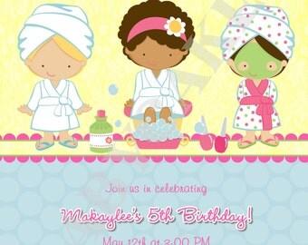Spa Party Birthday Invitation - DIY Print Your Own