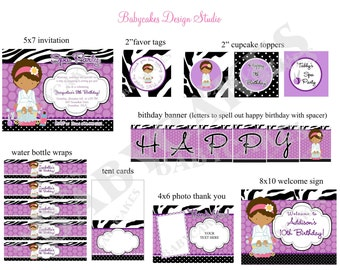 Spa Party Invitation Package Spa Party Printables Spa Party decorations SPa party Package - DIY Print your Own - Choose your girl