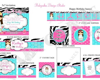 Spa Party Invitation and Party Package - DIY Print Your Own Party Package -  Choose your girl - Please READ Listing