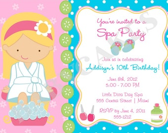 Spa Party Birthday Invitation - DIY Print Your Own - Choose your girl - Matching party printables available