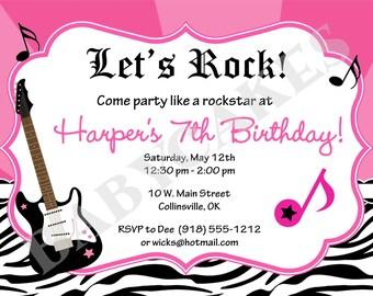 Rockstar Birthday Invitation Rockstar party Zebra Print -  DIY Print Your Own - Matching Party Printables Available