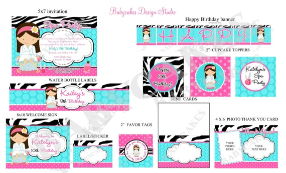 Spa Party Invitation Spa birthday invitation invite spa party package printable pink zebra aqua Choose your girl - Please READ Listing