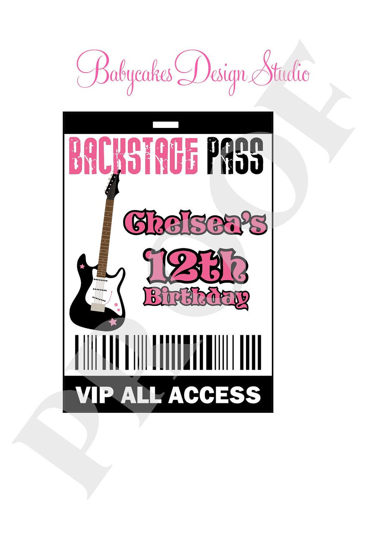 RockstarVIP Backstage Pass VIP DIY Print Your Own