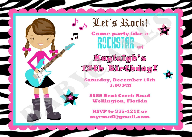 Rockstar Birthday Invitation Rockstar Invitation Rockstar – Rock Star Party Invitations