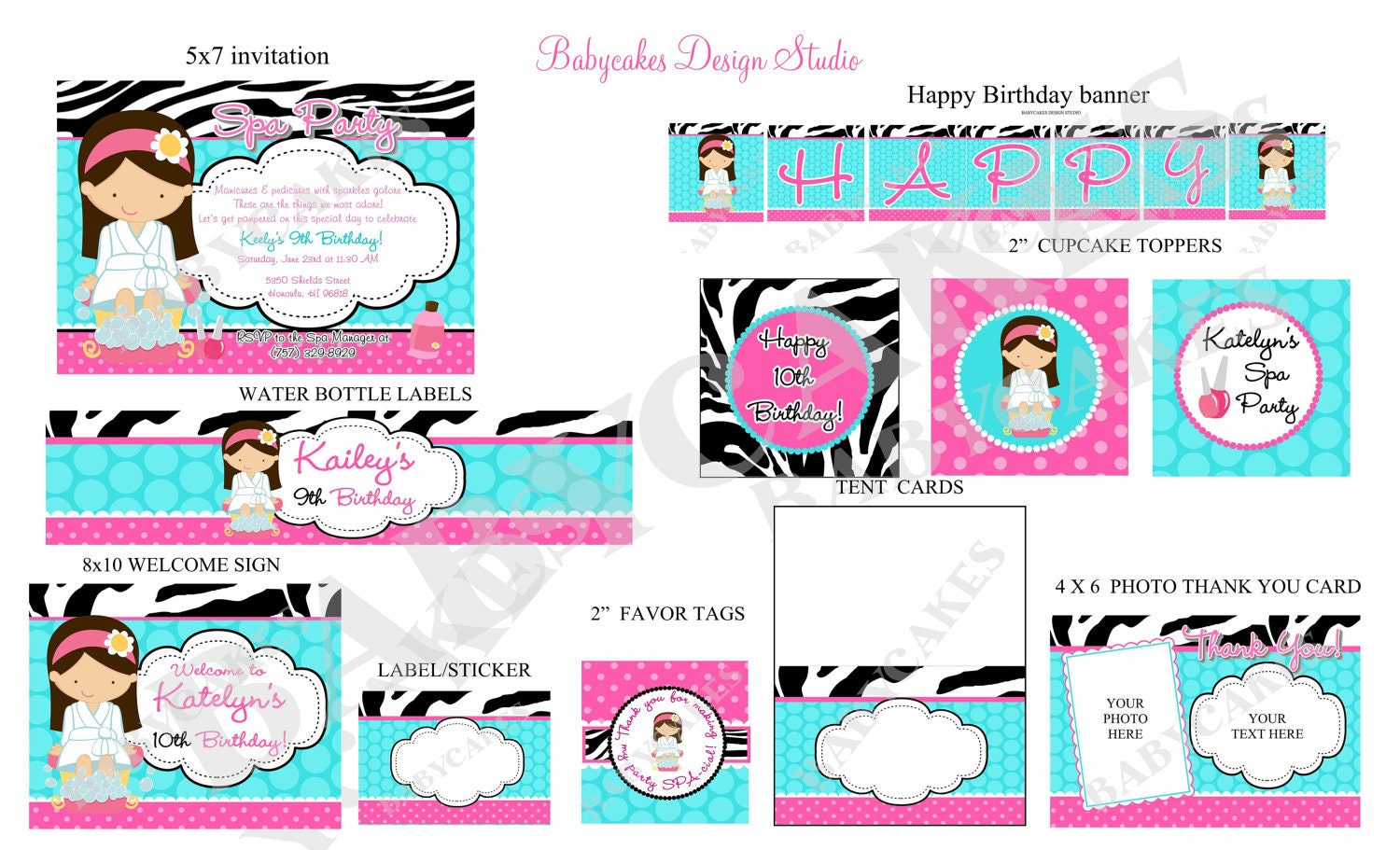 Spa Party Invitation Spa birthday invitation invite spa party – Printable Spa Party Invitations