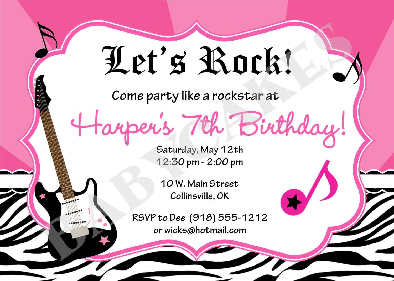 Similiar Rock Star Birthday Party Invitations Keywords – Rockstar Party Invites