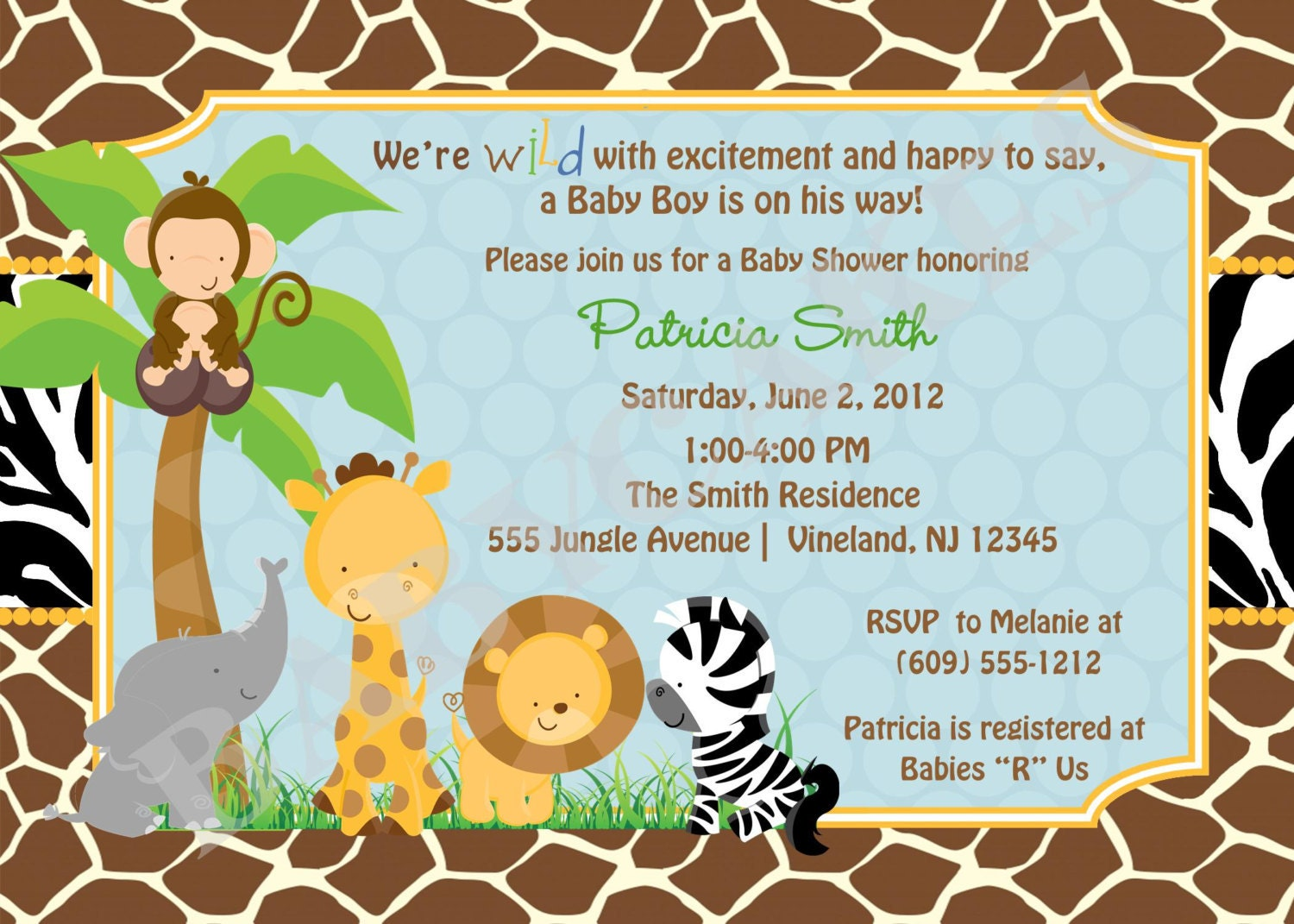 safari jungle animals baby shower invitationzoo by jcbabycakes