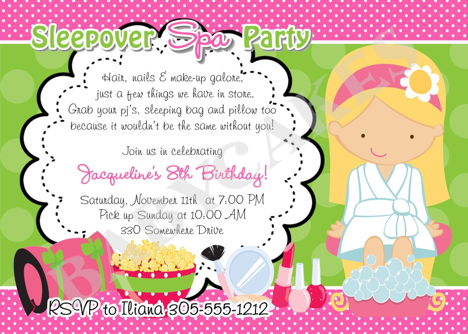 Spa Party Invitations Templates Image collections - Party ...
