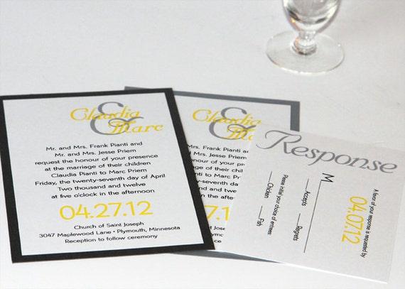 Yellow Grey Wedding Invitations: Grey And Yellow Modern Wedding Invitations By