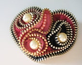 Heart with Pearls Zipper Brooch Pin