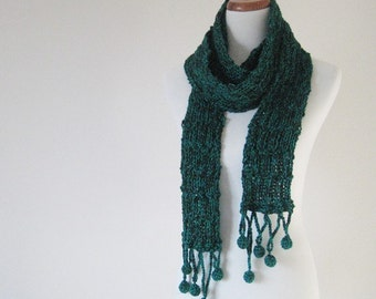 SALE-Green Pompom Scarf