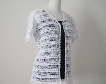 White Short Sleeves Cardigan