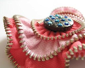 Pink Flower Zipper Brooch Pin
