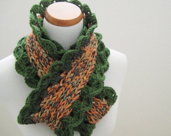 SALE-Orange & Green Ruffled Cowl