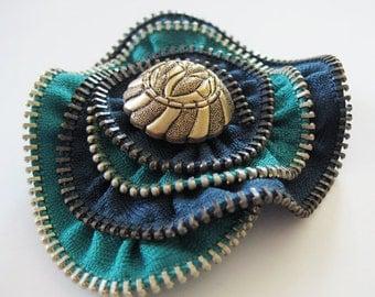 Green Rose Zipper Brooch Pin