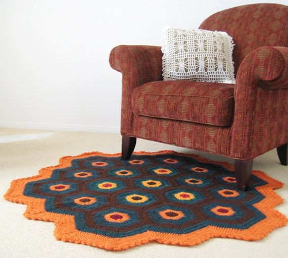 Brown Green N Orange Rug