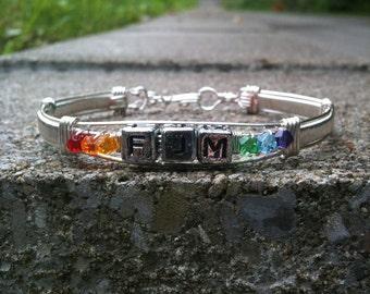 Rainbow Gay Lesbian Pride ID Bangle Bracelet LGBT/GLBT