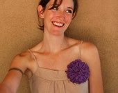Purple Chrysanthemum Brooch - Repurposed T-Shirt