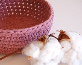 Raspberry Crocheted Bowl - Recycled Tshirt - Eco Friendly