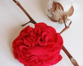 Red Carnation Fabric Pin or Clip - True Love - Repurposed Recycled T-shirt