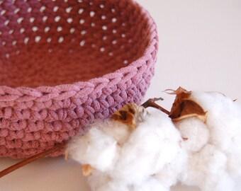 Raspberry Crocheted Bowl - Recycled Tshirt - Eco Friendly