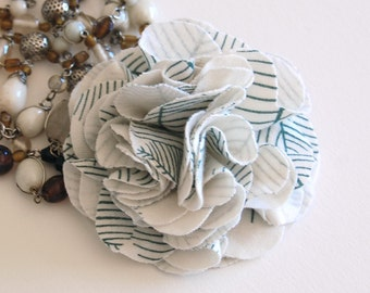 Green and White Carnation Flower Clip/Pin - Recycled Tshirt