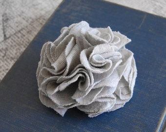 Gray Carnation Pin/Clip - Repurposed Cotton Jersey