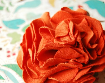 Pumpkin Orange Carnation Pin/Clip, Hair Clip, Lapel Pin, Floral Accessories