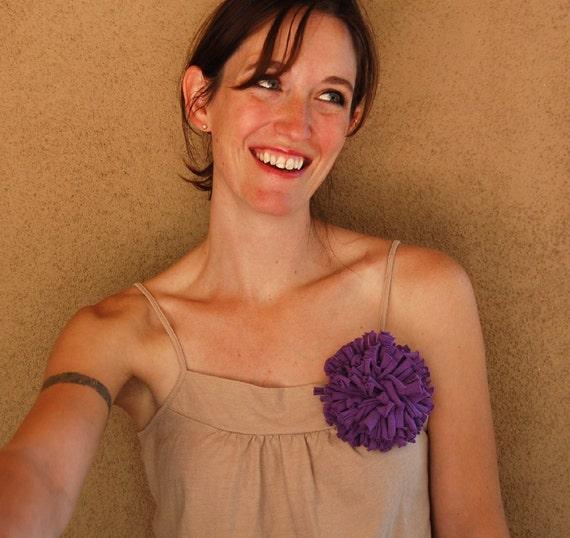 Purple Chrysanthemum Brooch - Repurposed T-Shirt