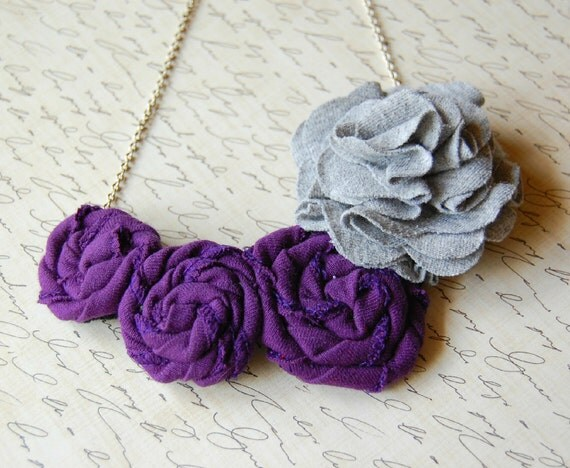Purple and Gray Flower Necklace - Repurposed Tshirt