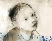 Boy original technique drawing child portrait