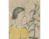 original drawing, MATTED,  figurative SUMMER FLOWER,  woman portrait