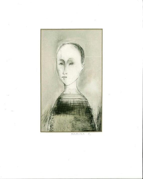 original drawing  MATTED portrait GIRL original graphic technique