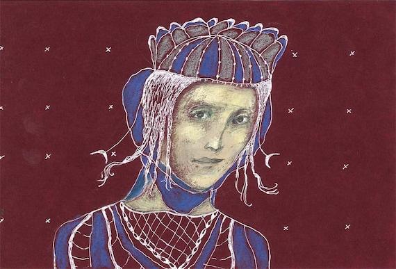 PRINCESS original drawing woman portrait paper