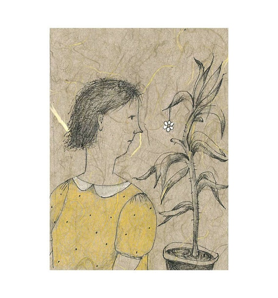 original drawing, MATTED,  figurative SUMMER FLOWER,  woman portrait