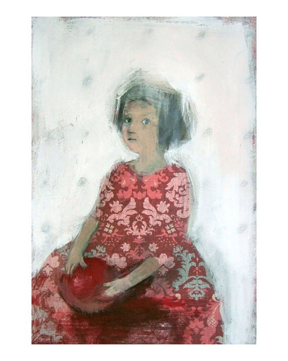 original  painting , GIRL in RED,  figurative, acrylics