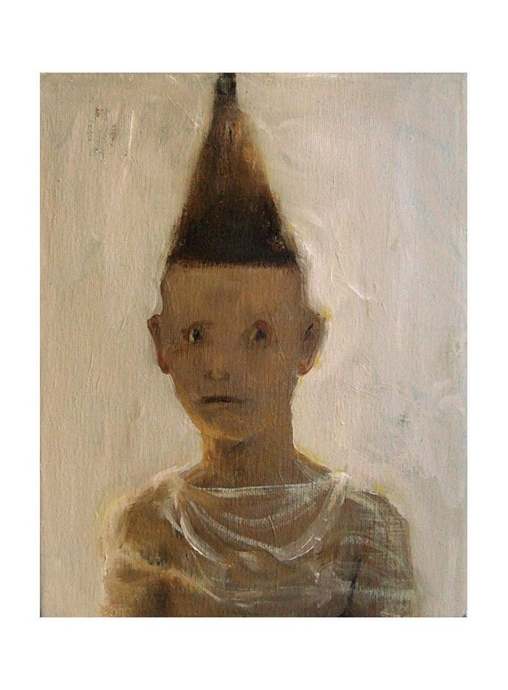 "original painting, figurative,BOY with HAT,  oil, canvas, 8"" x 10"""
