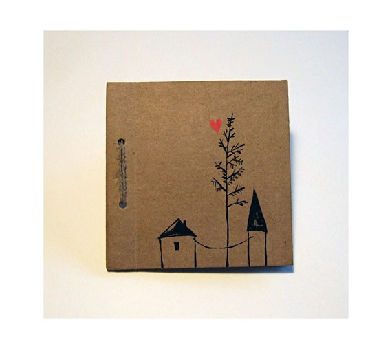 LOVE journal with original drawing  notebook, gift