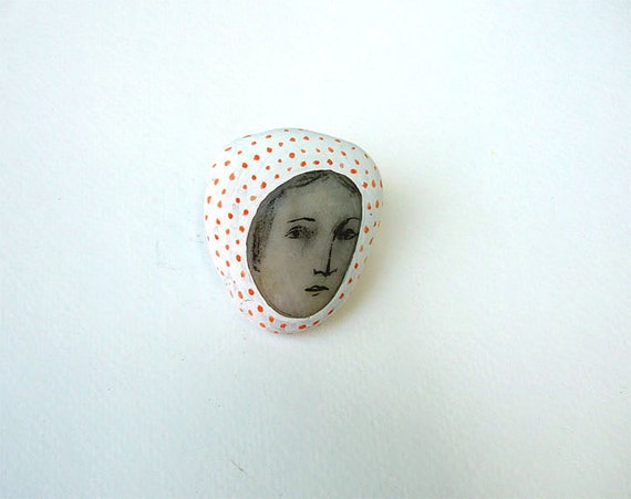 painted stone rock gift FACE mixed media souvenir paper weight